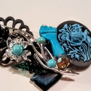 Wendy Gell Black Lives Matter Turquoise Flower Pin